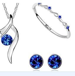 Set Collar Y Aretes Gota De Agua Joyeria Swarovsky Elements