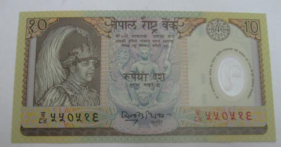 Nepal: Bela Cédula De 10 Rupees De 2002 Fe Polimero