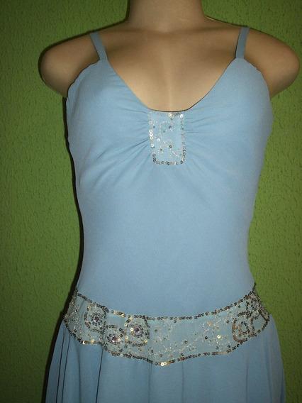 Vestido Bordado Cintura Baixa Crepe De Seda Azul Claro M