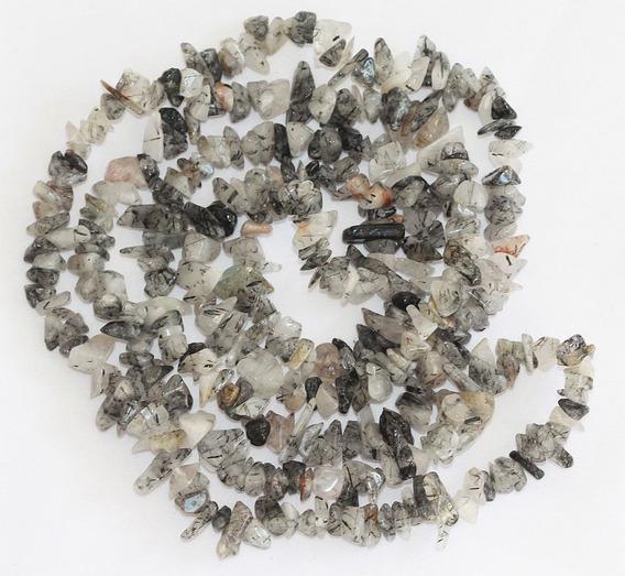 Cascalho Cristal Quartzo Rutilado Negro Teostone Colar 417c