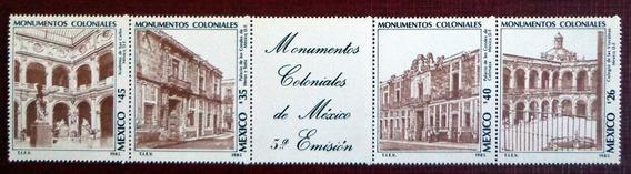 México, Tira Horizontal Sc. 1430a Monumentos 1985 Mint L7546