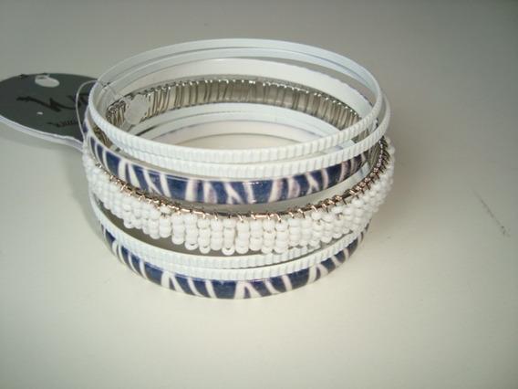 Conjunto 07 Pulseira Bracelete Em Metal Branca Tigrada