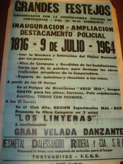 Antiguo Afiche Callejero Grandes Festejos