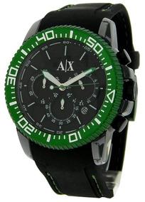 Relogio Armani Exchange Ax1205 Preto Com Verde Novo Original
