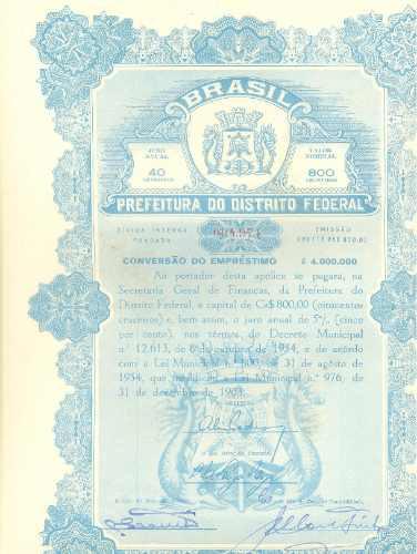 Apólice Da Prefeitura Do Distrito Federal - 1954