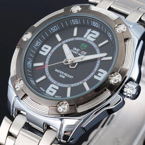 Relógio Weide Analógico Black Sport Genuíno Modelo Masculino