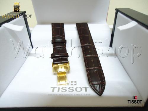 Pulseira De Couro Tissot Prc200 T17 19mm Fivela Dourada