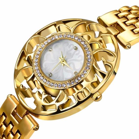 Relogio Feminino Adyi Luxo Strass Aço Inox Dourado Ad1010