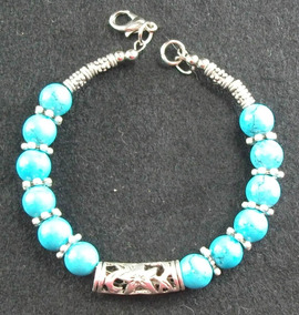Lindo Bracelete Prata Tibetana E Turquesa Azul Sintetica