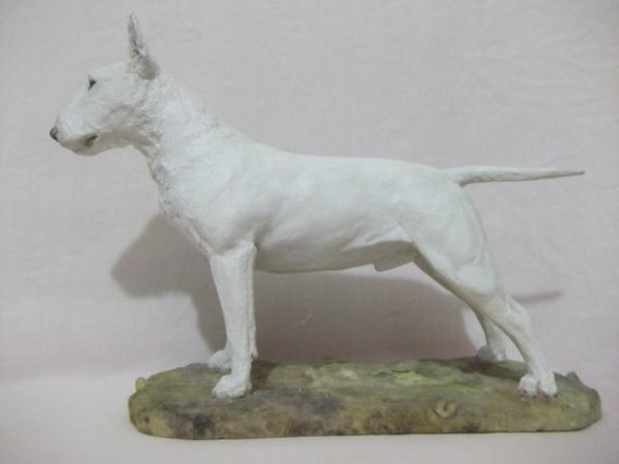 B. Antigo - Cachorro Bull Terrier Em Resina Inglesa Assinado