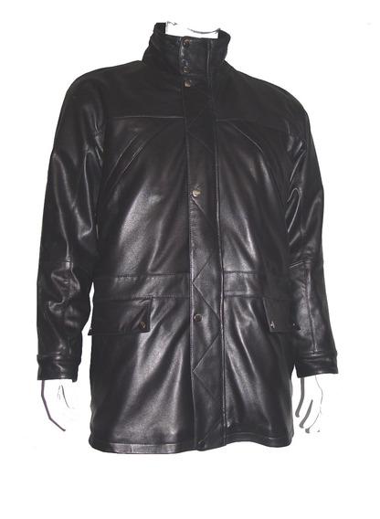 2034 Men Black Leather Fundo Aberto 3/4 Brasão Gola