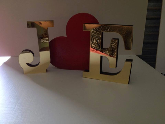 2 Letras Decorativas Mdf E Acrilico Espelhado