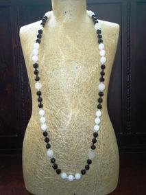 Refinado Colar Vintage Cristais Negros,opalinas,itália,déc60