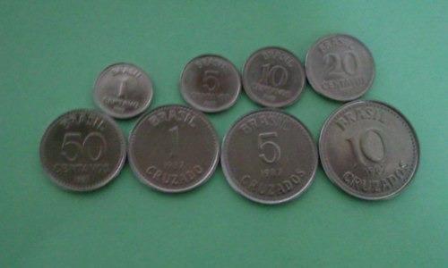 Moedas De 1/5/10/20/50/centavos E 1/5/10 Cruzados De 1987