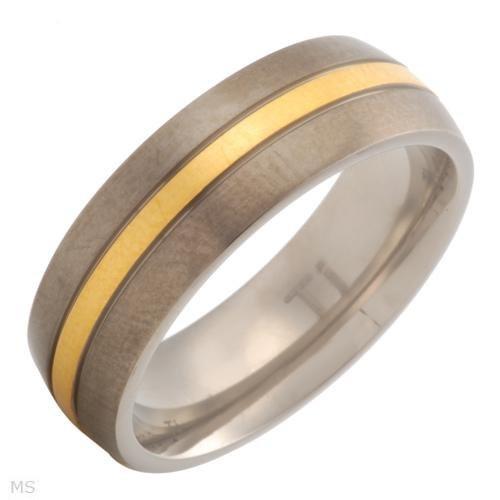 Anel Em Titanium - 14k/ti Gold Plated Titanium - Lancamento