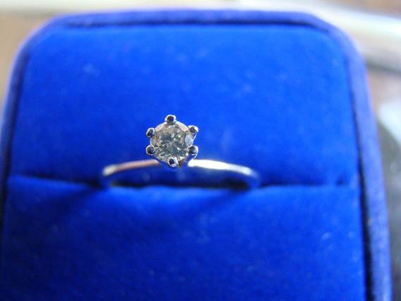 Anel Solitario De Ouro Branco 18k Com Diamante 03