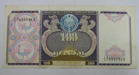 Uzbequistão: Bela Cédula De 100 Sum 1994 - S/fe