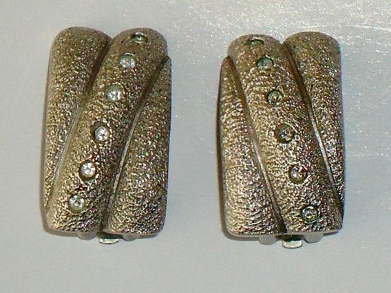 Refinados,lindos Brincos Prata Fosca/cristais Cassis,déc.80