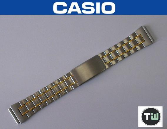 Pulseira Casio Aço Mista C/ Dourado 19mm Abx-68