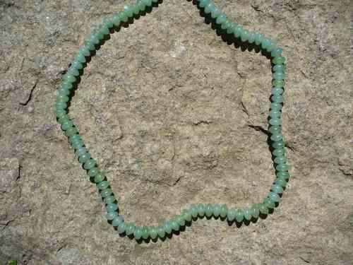 Colar De Quartzo Verde Lapidação Disco Prata Bali