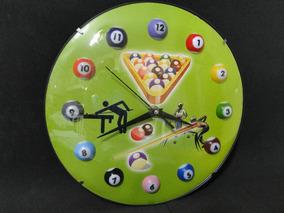 Relógio Sala Sinuca Bilhar Bola 8 Decoração Enfeite