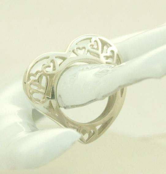 Anel Coração Em Prata 925 Design Moderno Frete Grátis
