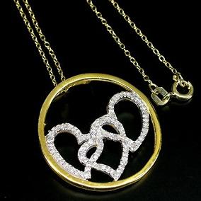 Colar 3 Corações Diamantes Naturais Prata 925