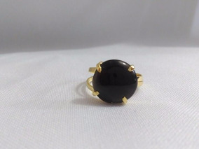 Anel Ajustável De Cristal De Obsidiana Negra Botão Promoção