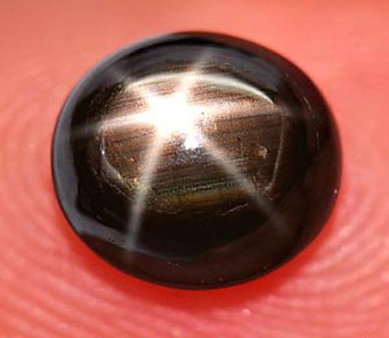 2,05ct! Linda Safira Estrela Negra 6 Raios Oval Natural!