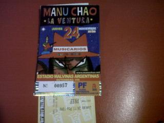 Manu Chao Antigua Entrada De Coleccion Estadio Malvinas