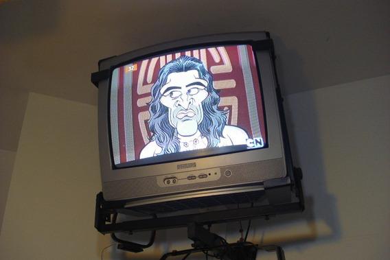 Tv Philips 20 Com Controle Remoto Original 110v Entrada Av