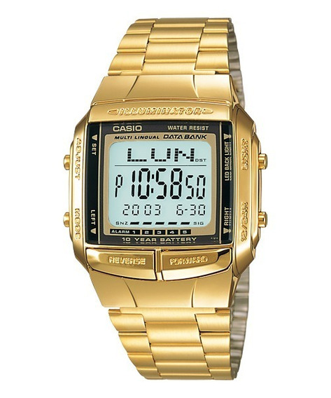 Relógio Casio Db 360g-9a Dourado Retro Databank 30 Tel 360