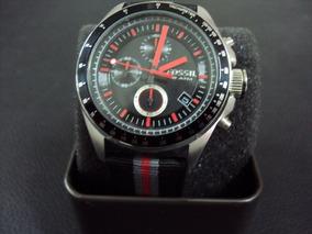 Relógio Fossil Decker Preto Com Faixas Vermelhas Ch2679