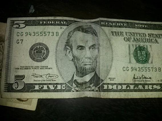 Cedula 5 Dolares Selo Verde