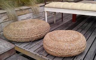 Puff Almohadón Redondo Chico Envio Gratis!! Seagrass 60x20cm