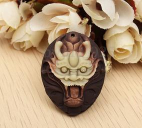 Amuleto Pingente Da Sorte Pedra Jade Roxo Cabeça De Dragão