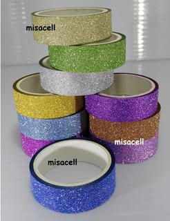 Kit De 10 Diurex Con Glitter Lisos Washi Tape :)