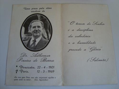 Política - Santinho - Morte Do Governador Adhemar De Barros
