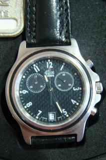 Reloj Lacoste Cronografo Original Caja Malla Cuero