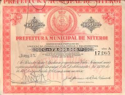 Apólice Prefeitura Municipal De Niterói Série A 1948