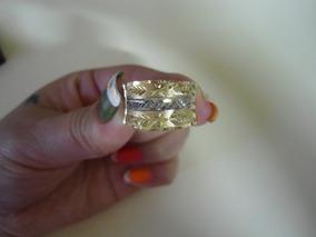 Anel Em Ouro 18kl Com Filete Em Ouro Branco