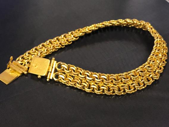Pulseira Em Ouro 18k-750 Peso:23.8 G Tam: 18,5 Cm