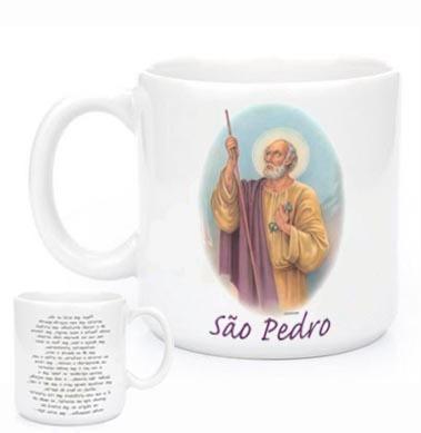 Imagem 1 de 2 de Canecas Religiosas São Pedro Com Oração