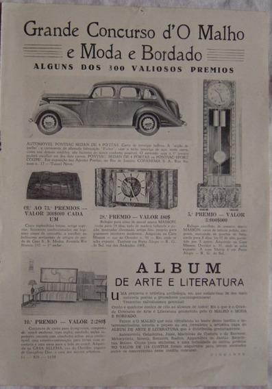 Propaganda Grande Concurso Do Malho E Moda E Bordado -1935.