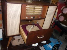 Eletrola Antiga Som Toca Discos Antigo Rádio Semp