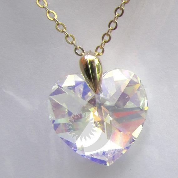 Colar Coração Swarovski Elements Banho Ouro