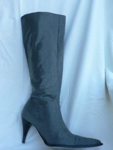 Bota Clona Stiletto Nº 39 Cuero Simil Escama Como Nueva