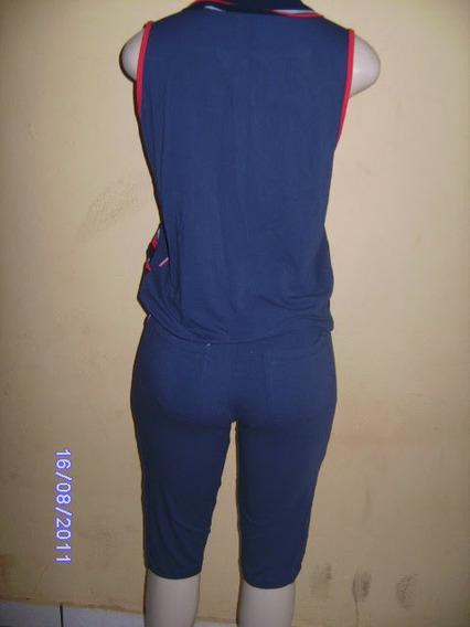 Cj002- Brecho Conjunto Rosa E Azul Manequim P