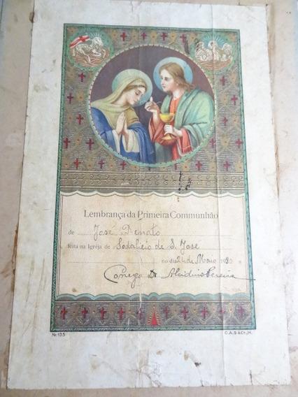 Raro Documento De Batismo Anos30 Litografado Santinho Antigo