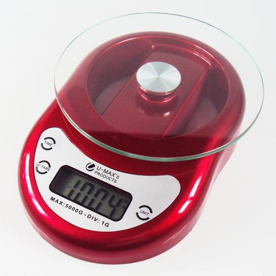 Balança De Cozinha Digital Com Relógio 5kg Vermelha Ek1